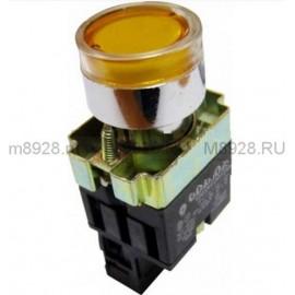 Бутон метален CHINT NP2-BW3561, жълт, без задържане, светещ с LED 24V AC, 1NО контакт