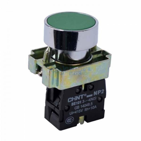 Бутон метален CHINT NP2-BA31, зелен, без задържане, несветещ, 1NO контакт