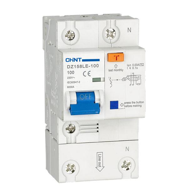 Дефектнотокова защита CHINT DZ158LE, 80A 300mA, 1P+N, 6kA