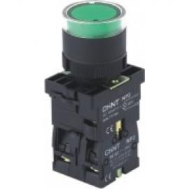 Бутон пластмасов CHINT NP2-ЕW3361, зелен, без задържане, светещ с обикновена лампа 230V AC, 1NО контакт