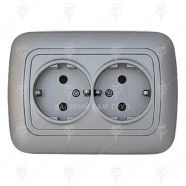 Контакт двоен тип Шуко 16А/250V, сив металик , Gokku