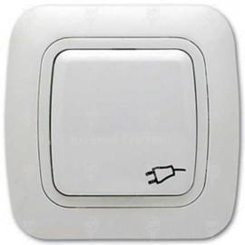 Контакт с капак тип Шуко 16А/250V, бял , IP44, Gokku