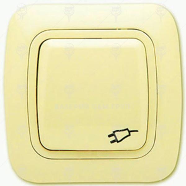 Контакт с капак тип Шуко 16А/250V, крем , IP44, Gokku