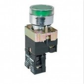Бутон метален CHINT NP2-BW3361, зелен, без задържане, светещ с обикновена лампа 230V AC, 1NО контакт