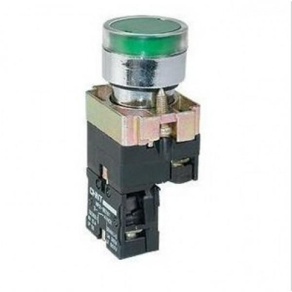 Бутон метален CHINT NP2-BW3361, зелен, без задържане, светещ с LED 230V AC, 1NО контакт
