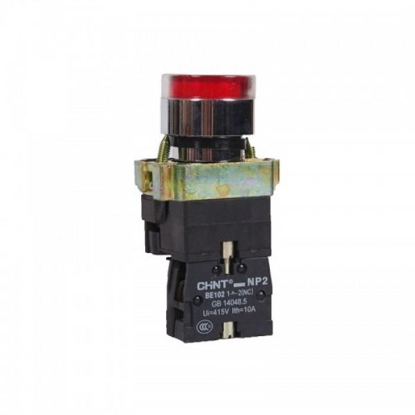 Бутон метален CHINT NP2-BW3461, червен, без задържане, светещ с обикновена лампа 230V AC, 1NC контакт