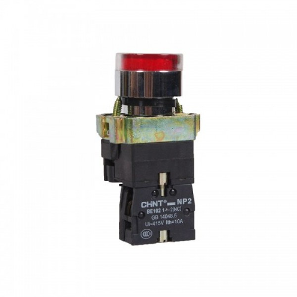 Бутон метален CHINT NP2-BW3461, червен, без задържане, светещ с LED 230V AC, 1NC контакт
