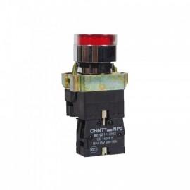 Бутон метален CHINT NP2-BW3461, червен, без задържане, светещ с LED 24V AC, 1NC контакт