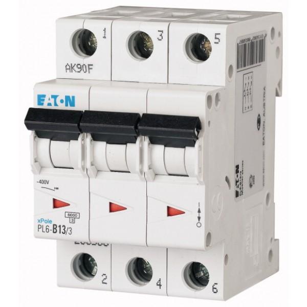 Предпазител автоматичен Eaton PL6-C10, 10A, 3P, 6kA