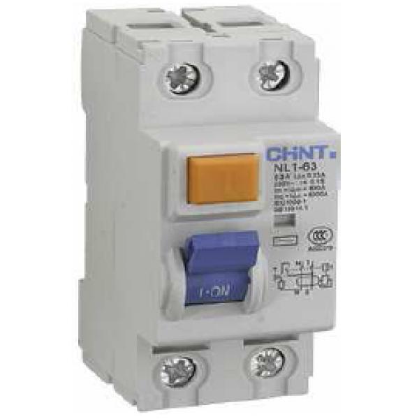 Дефектнотокова защита CHINT без предпазител NL1-63, 25A 100mA, 2P, 6kA