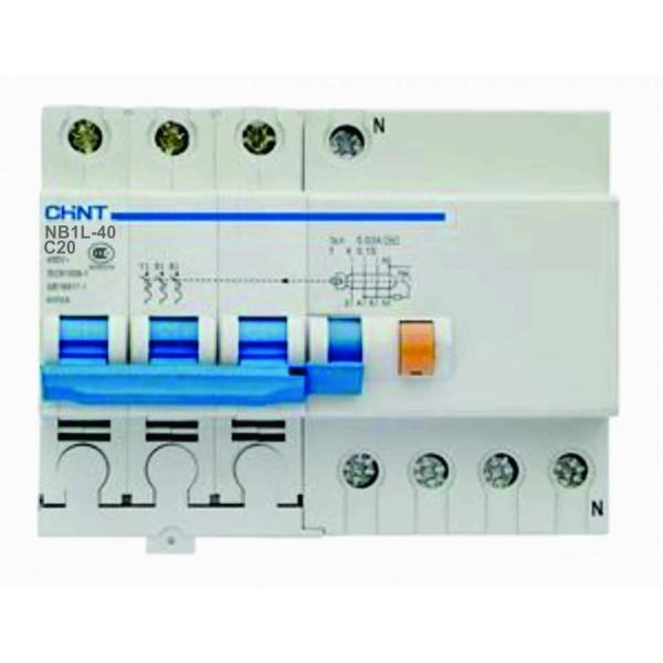 Дефектнотокова защита CHINT с предпазител NB1L-40, 20A 30mA, 3P+N, 6kA
