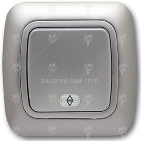 Ключ за осветление девиаторен, сх.6, сив металик, светещ, Gokku