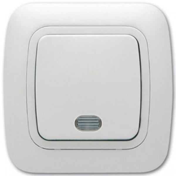 Ключ за осветление еднополюсен сх.1, бял, светещ, Gokku