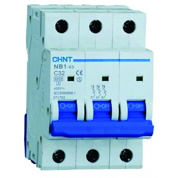 Предпазител автоматичен CHINT NB1-C32, 32A, 3P, 6kA