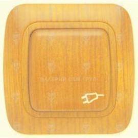 Контакт с капак тип Шуко 16А/250V, дъб , IP44, Gokku