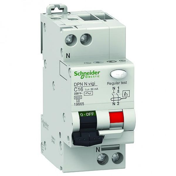 Дефектнотокова защита Шнайдер - Schneider Electric с вграден автоматичен предпазител DPN N Vigi, 2P, 16A, 30mA, 6kA